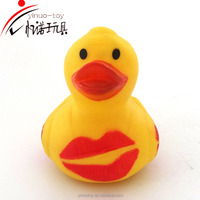 2016 Wholesale ecofriendly high quality cheap promotional small kiss rubber duck logo custom for babies