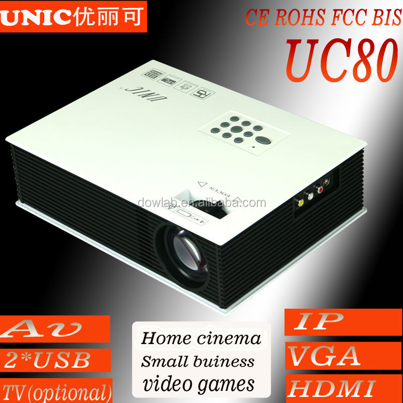 Lower cost Projector LED UC 80 Can support AV 2USB VGA HDMI IP TV