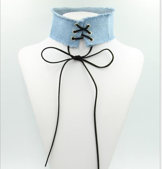 Extra Wide Denim Choker Suede Strap Tie Denim Choker Necklace