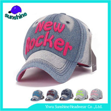 Multi-color custom applique embroidered logo 6 panel denim baseball cap wholesale