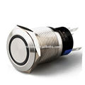 Momentary IP40/IP67 250V latching type led flat round push button switch