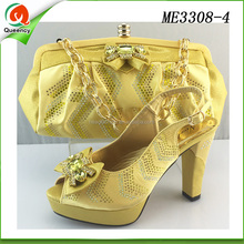 yellow color 2016 women high quality high heel fashion shoes and hand bags to match