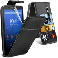 New Luxury PU Leather Flip Case For Sony Xperia E4G With Credit Card Slot Case Skin Cover