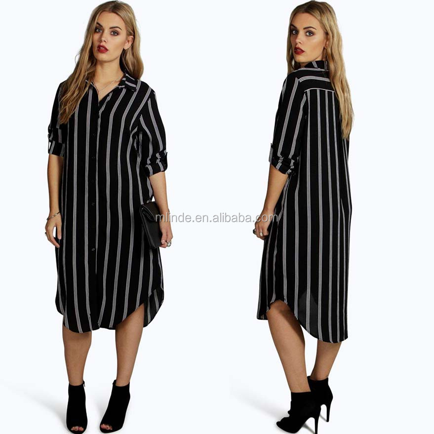 Formal Western Wear Women 100% Polyester Long Sleeve Plus Striped Shirt Button Down African Dresses For Women