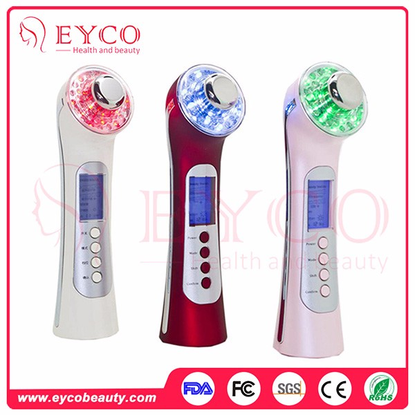 Mask Form Rf Ems And 3 Colors Led Therapy Anti-Wrinkle Feature Beauty Instrument Electric Vibrating Facial Massager For Face