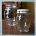 Screw Top Glass Jar with Tin Lid Oval Shape 10oz Mason Jar