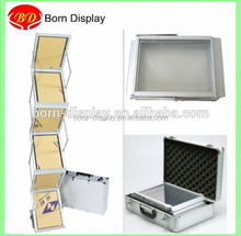 Fashion Portable Folded Steel Fitting 7 Layers Acrylic A4 Cradboard Brochure Holder Display for Promotion Exhibition