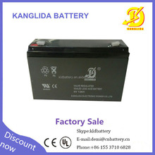 Kanglida 6v 12ah storage battery sealed lead acid maintenance -free China supplier