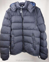 mens fashion winter Puffer Jacket Coat removable hood and sleeves Black
