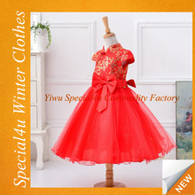High quality child dress new model baby cotton frocks designs red flower gril wholesale dress SA-160