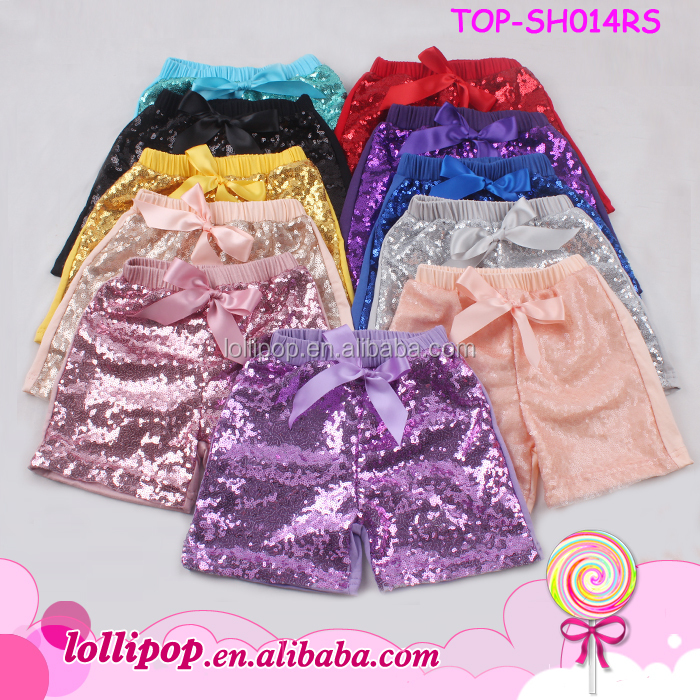 Kids Summer Wear Baby Shiny Bling Sparking Sequin Shorts Solid Color Boutique Toddler Sequin Shorts Wholesale Girls