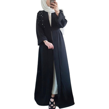 New design front open abaya with pearl bead long sleeve muslim abaya women dress with lace cuff