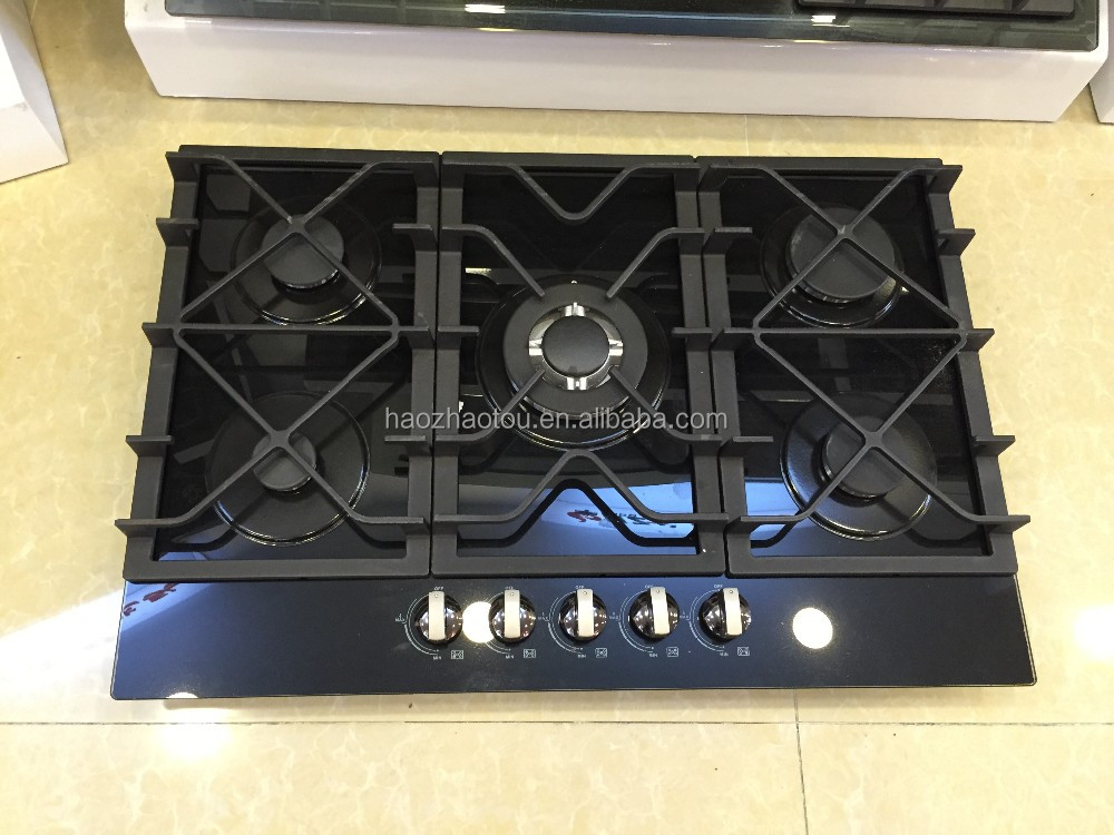 2017 Tempered glass gas stove top with downdraft