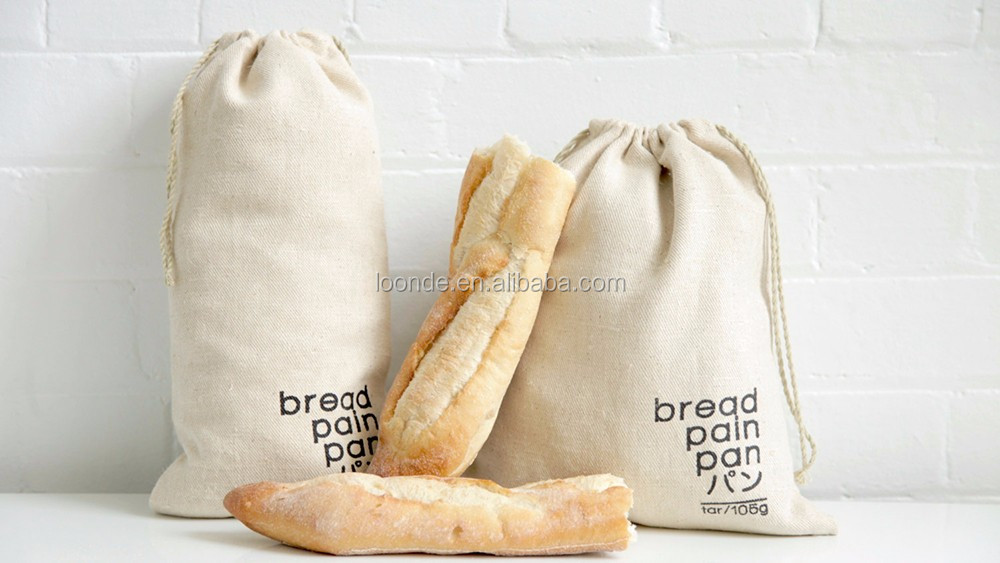 Thick and tightly woven hemp fabric food safe produce bag for bread