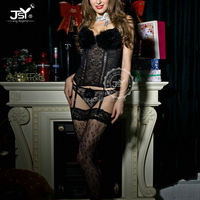 China Lingerie Manufacture Women Lace Sexy Busty Corset Lingerie,Fancy Black Underwear