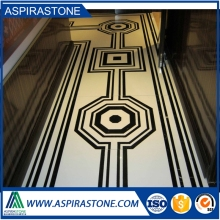 white marble medallion water jet mosaic floor tile designs