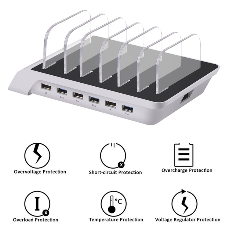 50 Watt 6-Port Family-Sized Desktop USB Fast Charging Station