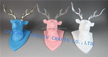 silver ,blue,pink deer,antique bronze resin wall animal head sculpture/Folk animal head wall mounts