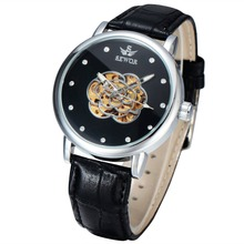 oem brand your own luxury automatic watch leather bracelet men skeleton watches