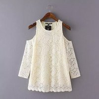 woman clothing open shoulder lace top