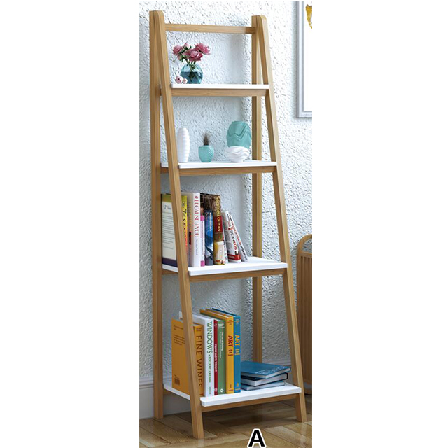 natural bamboo 5 shelf bookcase with storage for living room