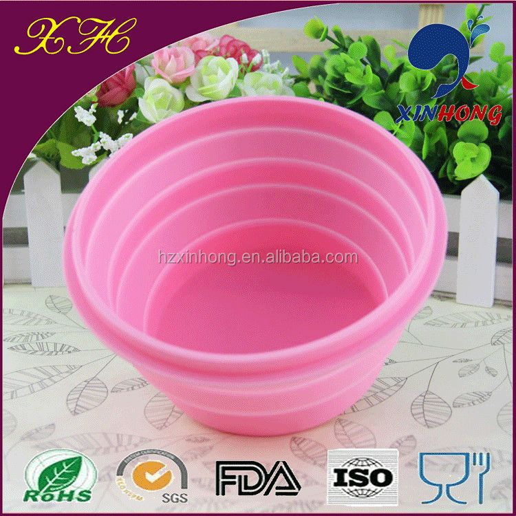 Candy Color Hot Selling Silicone Fold Up Clear Picnic Container with Lid