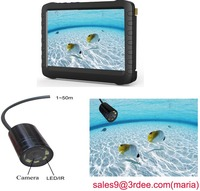 underwater fish finder ir camera with 5 Inch color monitor-motion detect,AV out,loop recording,battery powered