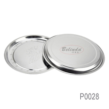 Grape Stamp Design Round Dinner Plates Stainless Steel Cheap Metal Tray for Restaurant