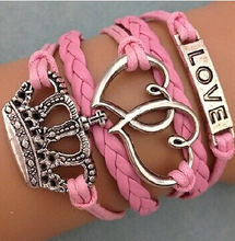 2017 European Hot-sales women leather wrap bangle wholesale girls multilayer woven cord love bracelet