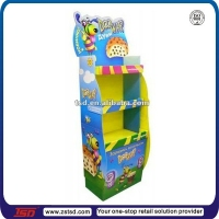 TSD-C386 Custom Colorful 3 tier paper cupcake stand display/carton floor display/cardboard cake pop display stand