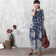O-neck Maxi Dresses 2017 New Women Half Sleeve Robes Cotton Linen Long Designer Loose Oversize Print Vintage Robe Dress Vestidos