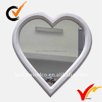 Wooden White Handicraft Heart Shaped Wall Mirror