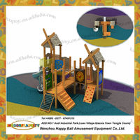 Children wooden climbing cubby house frames with slide amusement playground