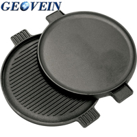 Cast Iron Reversible Round Griddle Camping grill plate 14-inch