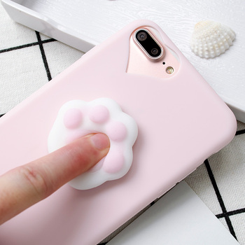 Cute cat paw squishy tpu cell phone case for iPhone