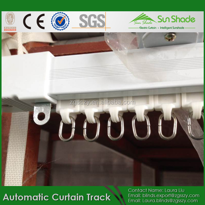 Aluminum Alloy Motorized White Sliding Curtain Track