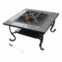 "34"" outdoor tile top Fire Pit / Coffee Table"