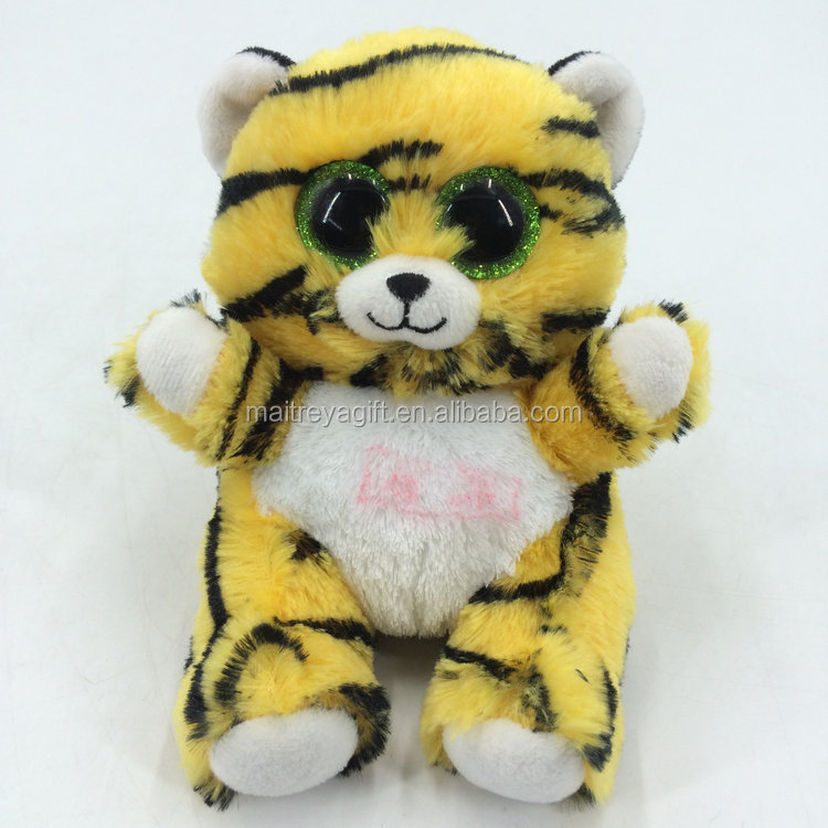 Large Stock Of Feisty Animal Plush Pet Toys Feisty Sitting Tigter With Big Eyes