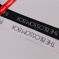 big size 40mm 1.5inch white logo printed single face on the black grosgrain ribbon in double side