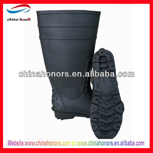 Matt black pvc safety boot/steel toe and plate work boots