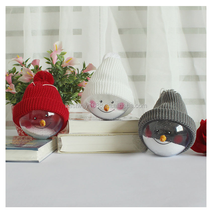 Promotional Lovely Cute Snowman Transparent Plastic Christmas Ball Ornament Tree Decoration Wholesale