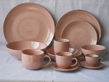 European pink glazed ceramic stoneware dinner set with hand paint lines, baby pink home goods dinnerware