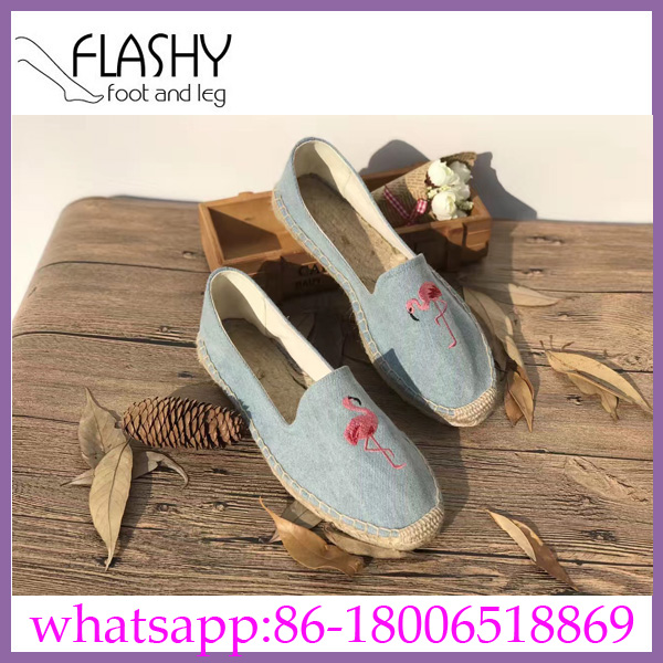 Wholesale new arrival women embroidery design flat shoes espadrilles