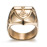 cheap bishop fake gold ring 18k jewelry stainless steel masonic rings for men
