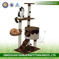 QQ factory wholesale deluxe cat toy hammock & natual tree for cat & indoor pole houses for cat