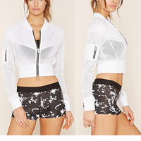 Fashion Mesh Cropped Top Hoodie For Girls/ Customized Running Wear
