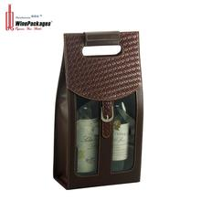 Handmade Two Bottle Faux Leather PVC Wine Bag