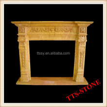 Natural Yellow Stone Marble Fireplace