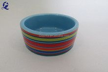 Ceramic colorful strip design mini travel pet bowl for promotion