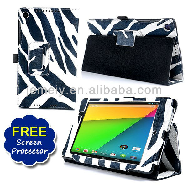 Smart Zebra Lether Wallet Flip Case Cover for Asus Google Nexus 7